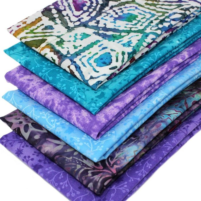 Deep rich batik fabrics in purple, blue, teal and deep pink