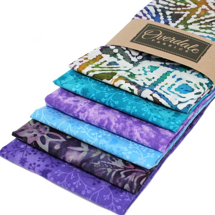 Purple and blue batik fat quarter pack.