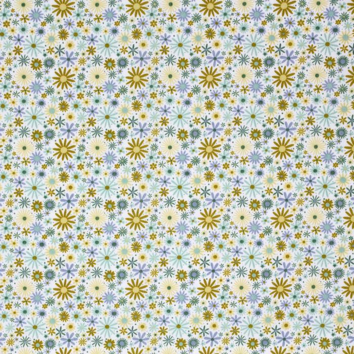 Yellow and green ditsy flower fabric.