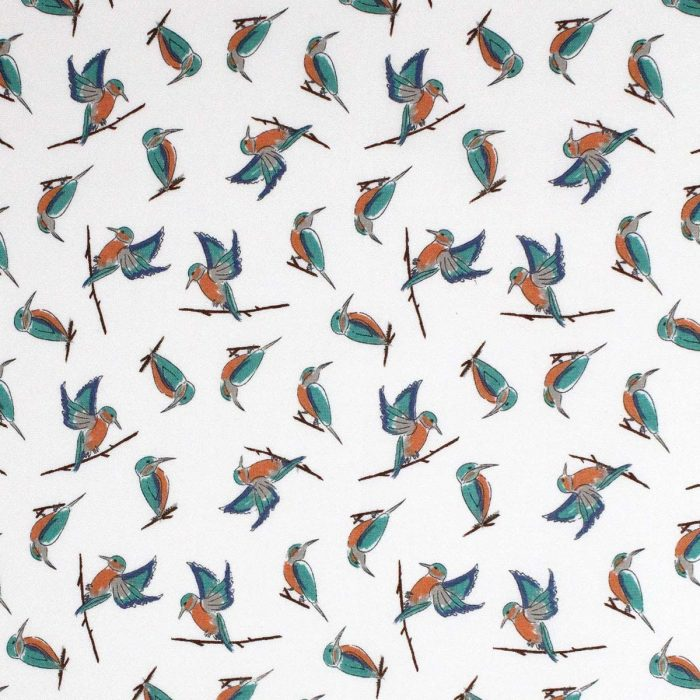 kingfisher design fabric on white
