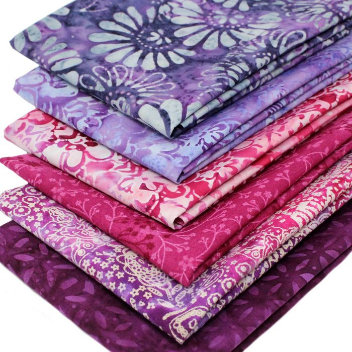 Pink and purple batik fat quarters.