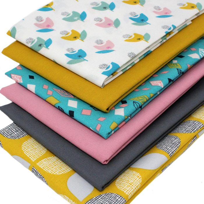 Retro printed fabrics in a fat quarter pack.