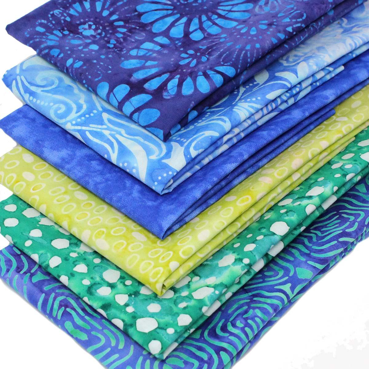 Fat Quarter Pack x 6 Batik Cotton Quilting Craft Fabric Bundles Blue Orange