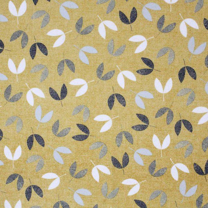 Mustard and grey leaf print.