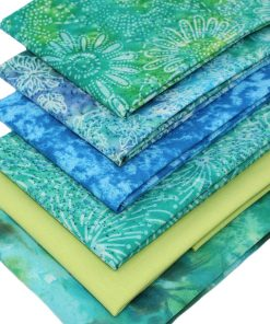 Batik fabrics in green and blue.