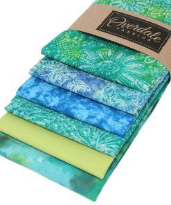 Batik fat quarter pack in blue and green.