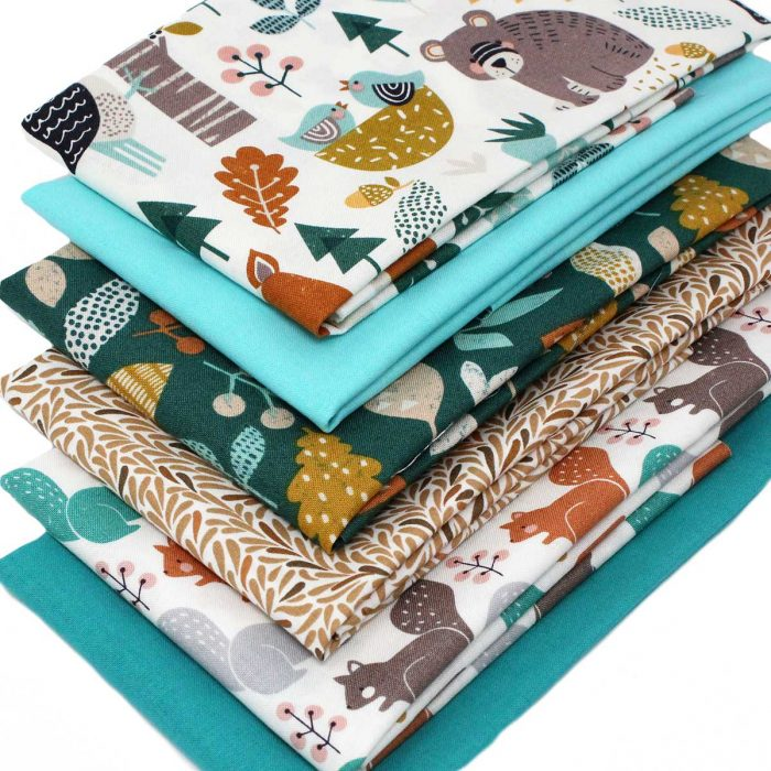 Set of fat quarters based around a woodland theme.