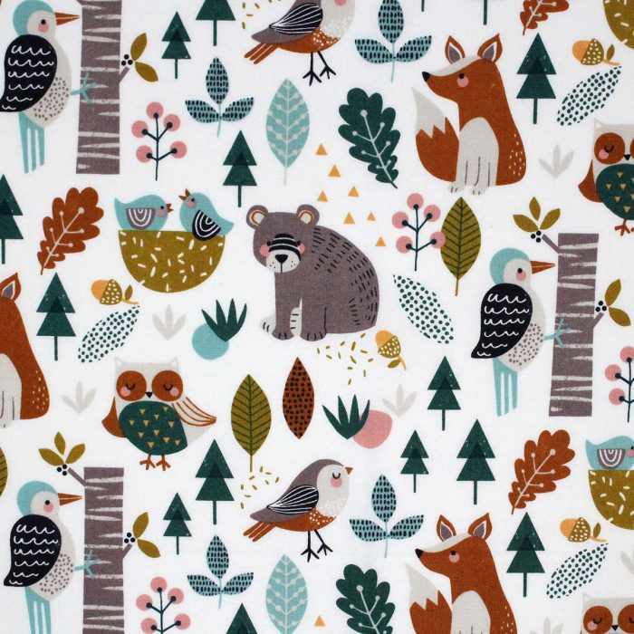 Woodland forest printed fabric by Dashwood Studios.