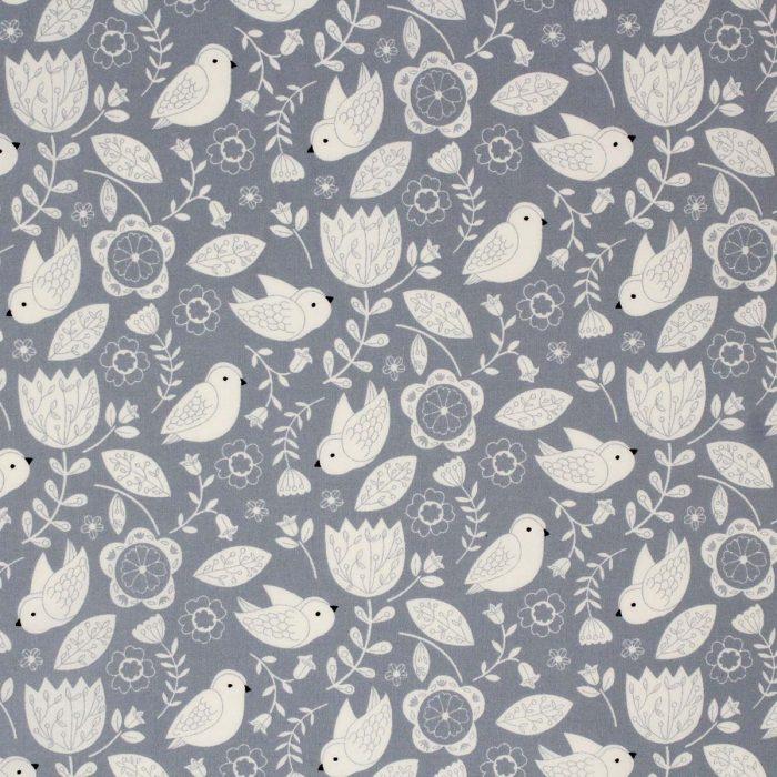 Grey bird and flower fabric.