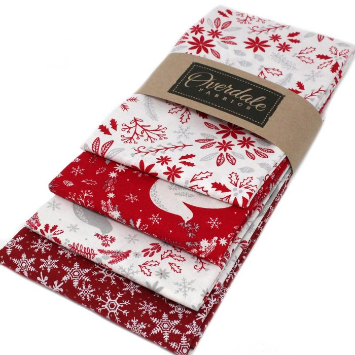 Red and white fat quarter pack of Christmas fabrics.