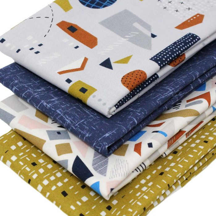 Sixties style fat quarter pack with geometric designs.