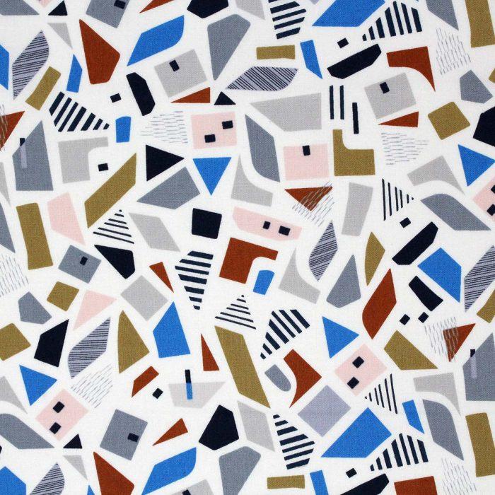Geometric shapes on a printed fabric by Dashwood Studios.
