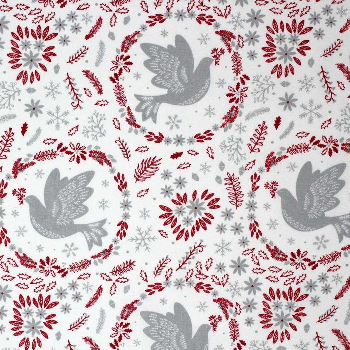 Festive fat quarter featuring doves and winter foliage in grey and red.