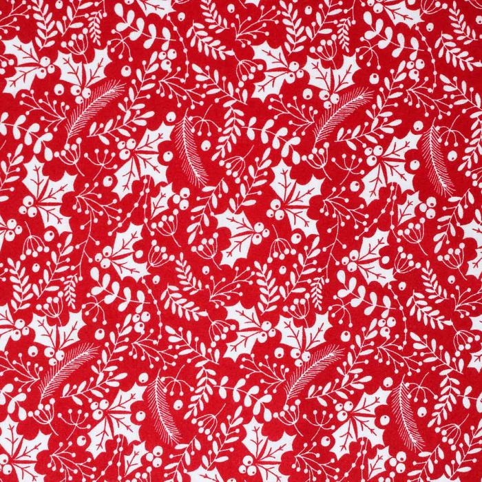 Red fabric with printed white holly leaves.