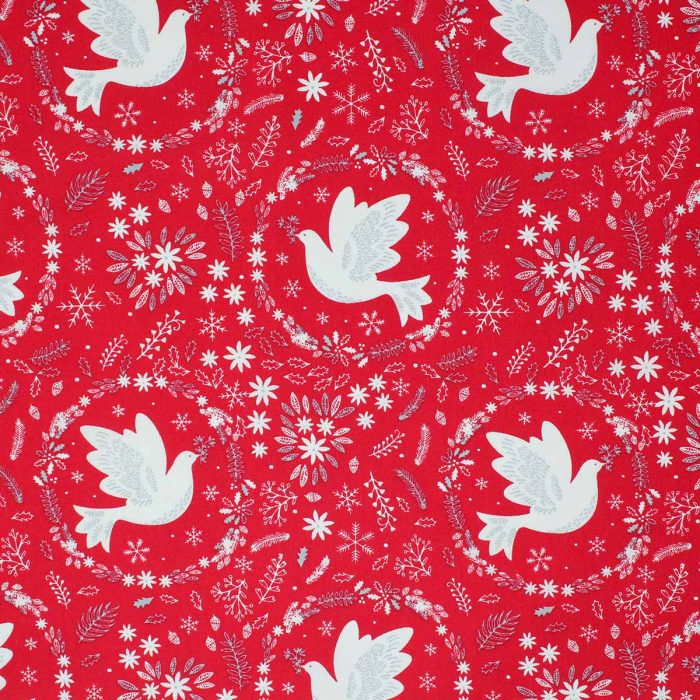 Xmas red dove fabric.