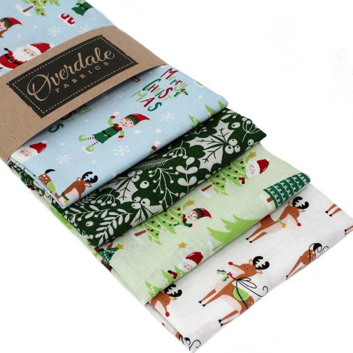 Fun Christmas fabrics of Santa and his elves and reindeer.