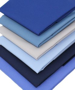 Blue plain solid fat quarter fabrics.