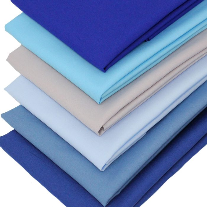 Blue fat quarter fabrics.
