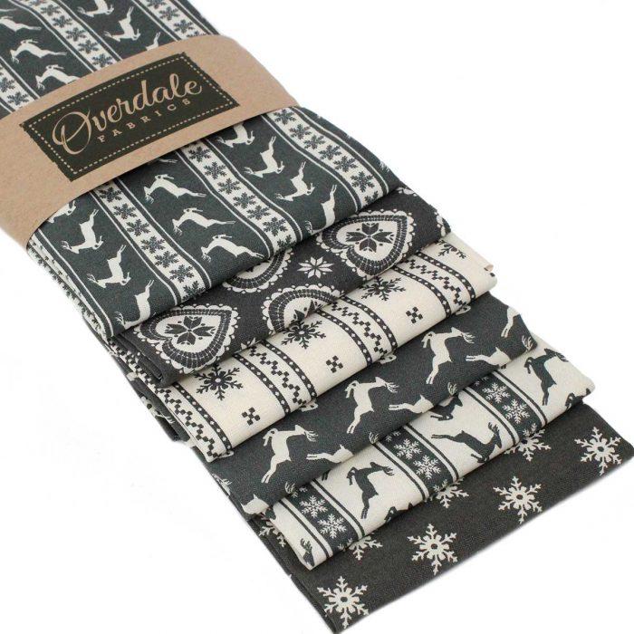 Scandi Christmas fat quarter pack in grey.