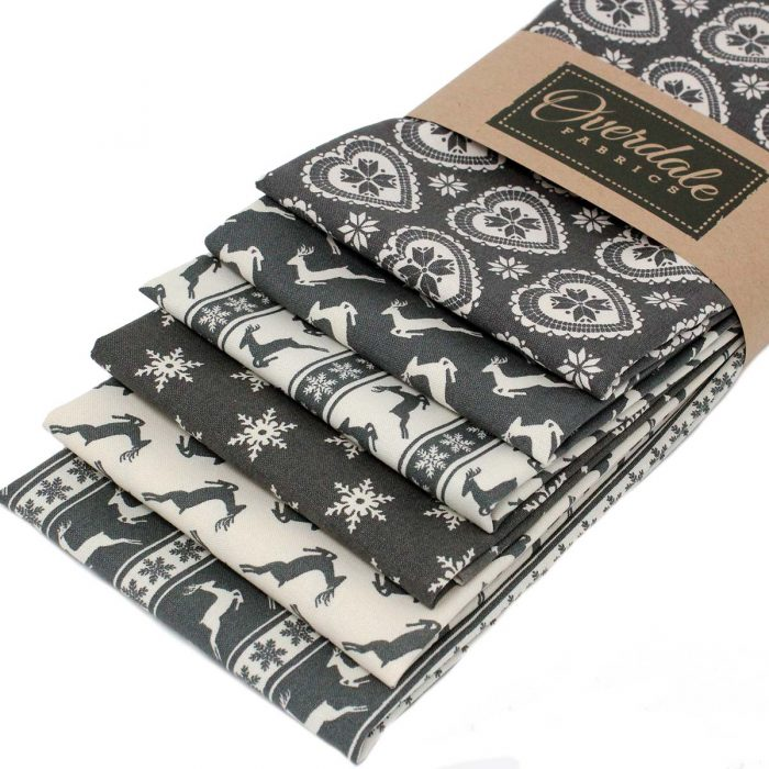 Christmas fat quarter pack in grey.