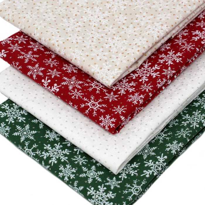 Printed snowflake fabrics ideal for Christmas sewing projects.