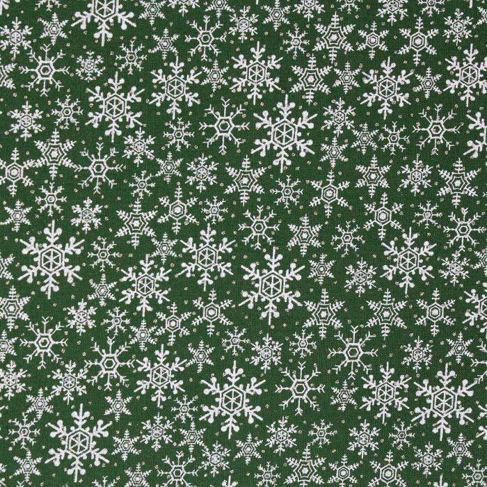 Green snowflake fabric.
