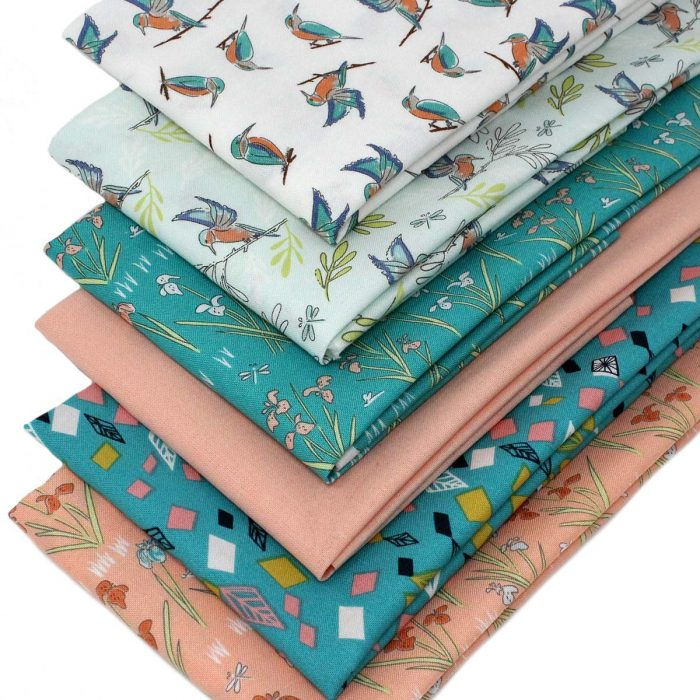 A collection of fat quarters inspired by the river bank.