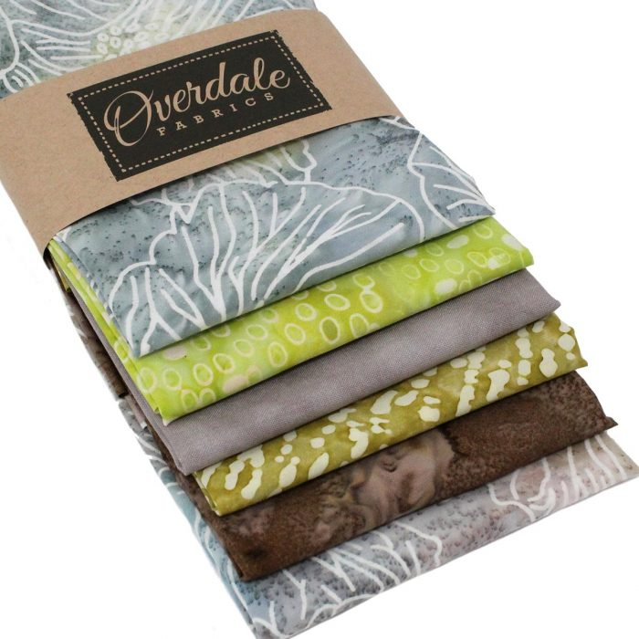 Natural coloured batik fat quarters.