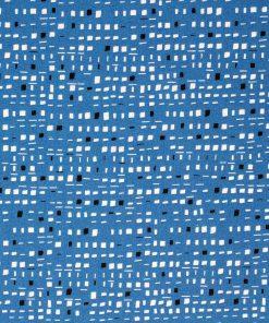 Blue geometric fabric.