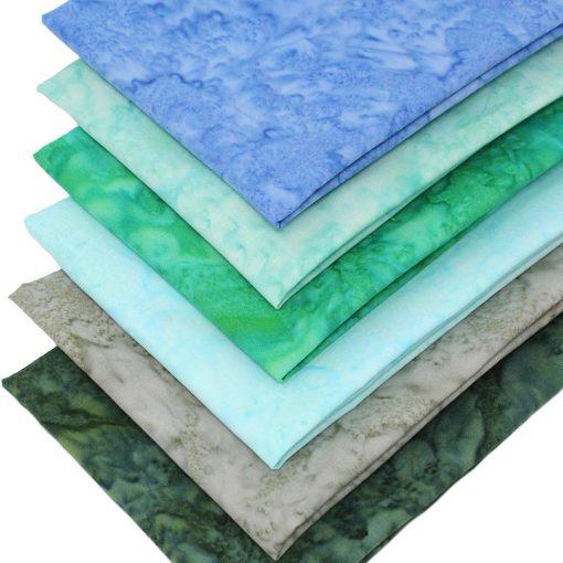Blue and green mottled batik fabrics.