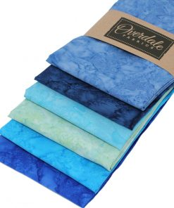 Batik fat quarter pack in shades of blue and green.