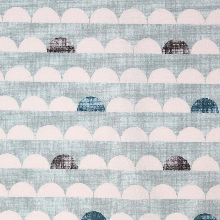 Abstract fabric print in light blue and grey.