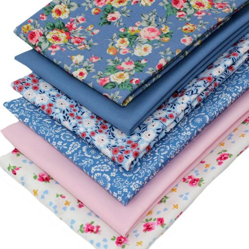Floral fabrics in blue and pink.