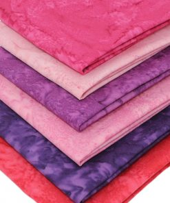 Pink and purple batik fabrics.