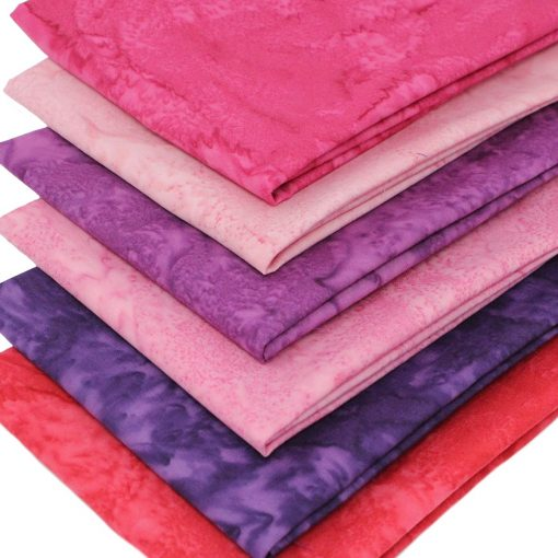Pink and purple batik fabrics.