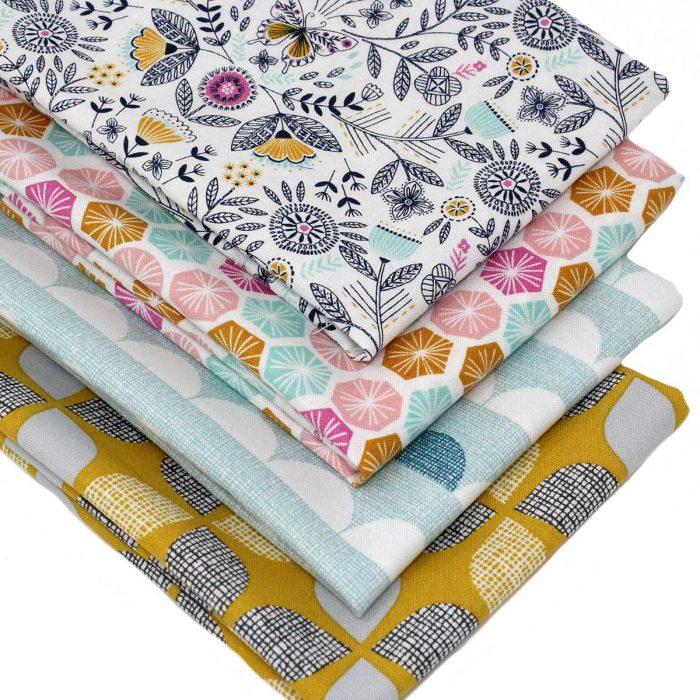 Fabrics with a retro theme.