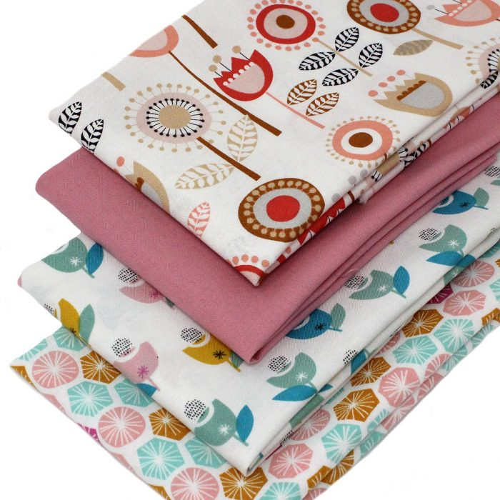 Fat quarter fabrics with a retro flower design.