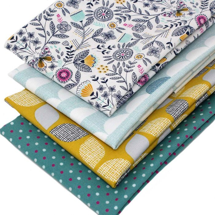 Retro fabrics in fat quarters.