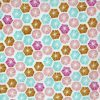 Pink and blue hexagon design with ochre yellow.
