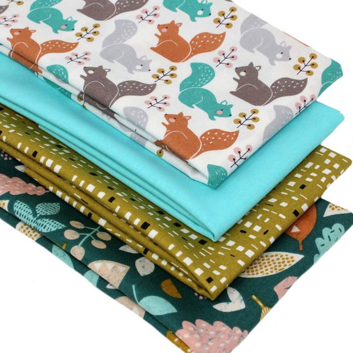 stylised squirrel and leave fat quarter fabrics.