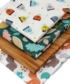 Fabrics featuring squirrels, flowers and leaves.
