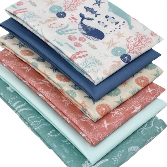 Fat quarter pack featuring shells, seaweed, jelly fish and whales.