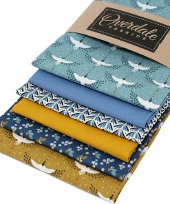 Cranes fat quarter pack in blue and mustard yellow.