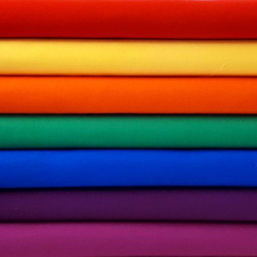 Fabrics in rainbow colours