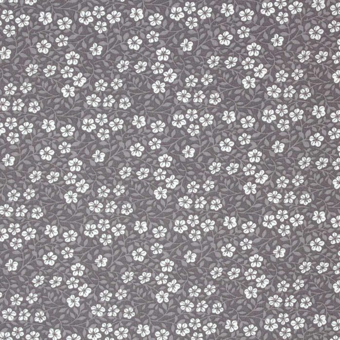 Flower and leaf fabric in taupe.