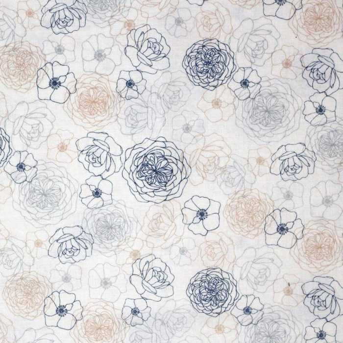 Rose patterns on a cream background.