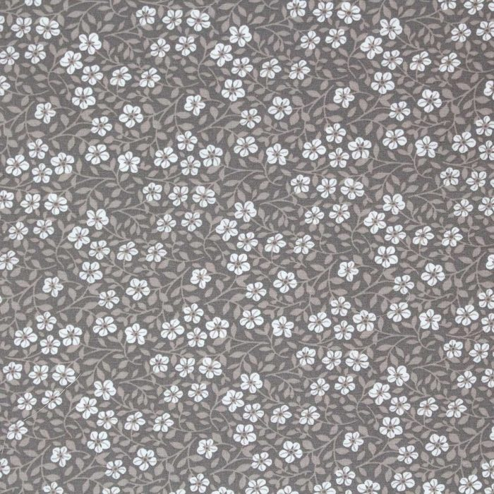 Floral fabric in taupe.