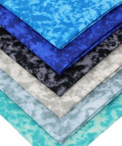 Marble fabrics in shades of blue, grey, black and teal.