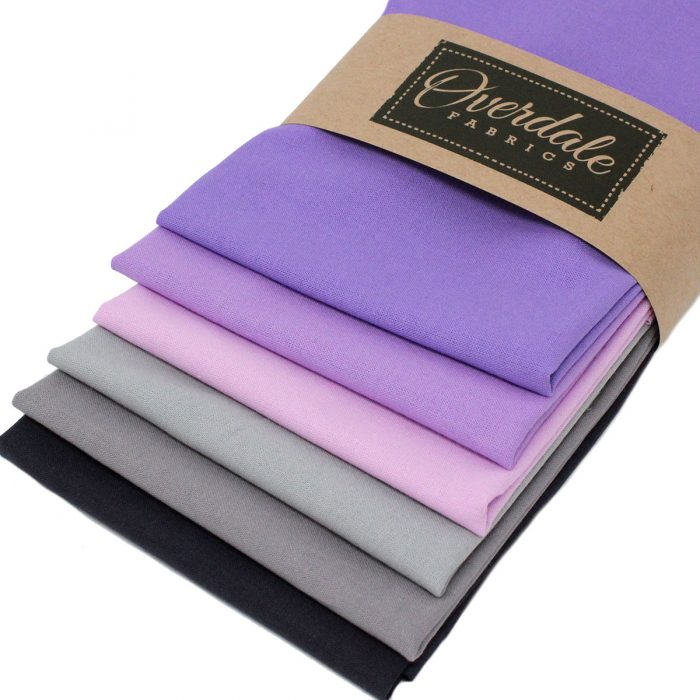 pack of fat quarters in grey to lilac colours