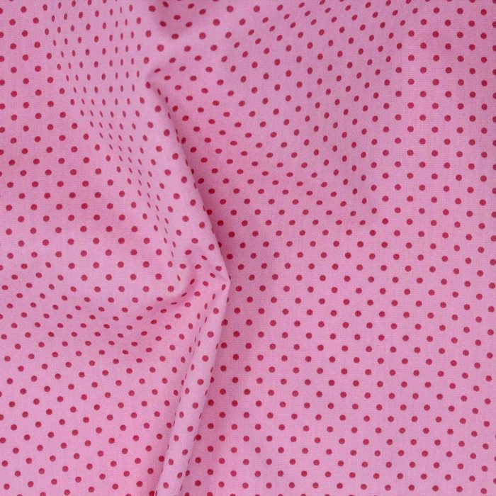 Pink polka dot fabric.